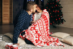 Holiday Christmas photo of beautiful tender couple Royalty Free Stock Photo