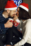 Holiday Christmas photo of beautiful tender couple Stock Photos