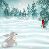 Holiday Christmas scene with cute bunny and cardinal bird. Vector stock photography