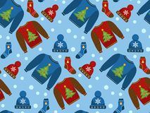 Holiday Christmas seamless pattern. Winter clothes endless texture, background. Warm apparel backdrop. Vector royalty free stock photos