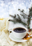 Holiday christmas still ilife with cup of coffe Royalty Free Stock Photography