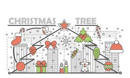 Holiday Christmas tree concept line banner. Vector illustration linear style design. Graphic icons with toys and gifts. Elements Royalty Free Stock Photography