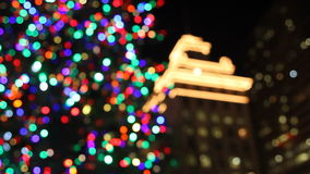 Holiday Christmas Tree with Festive Colorful Lights in Pioneer Courthouse Square at Night 1080p Stock Image