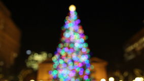 Holiday Christmas Tree with Festive Colorful Lights in Pioneer Courthouse Square at Night 1080p Stock Photo