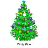 Holiday christmas tree isolated decoration for celebrate xmas with ball gold bells candles stars lights candy  Royalty Free Stock Photography