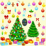 Holiday christmas tree isolated decoration for celebrate xmass with ball gold bells candles stars lights candy and. Gingerbread men Royalty Free Stock Photos