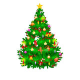 Holiday christmas tree isolated decoration for celebrate xmass with ball gold bells candles stars lights candy and. Gingerbread men Royalty Free Stock Image