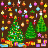 Holiday christmas tree isolated decoration for celebrate xmass with ball gold bells candles stars lights candy. And gingerbread men Stock Image