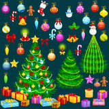 Holiday christmas tree isolated decoration for celebrate xmass with ball gold bells candles stars lights candy and Stock Images