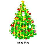 Holiday christmas tree isolated decoration for celebrate xmass with ball gold bells candles stars lights candy and Royalty Free Stock Images