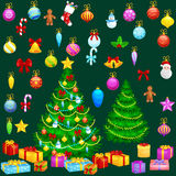 Holiday christmas tree isolated decoration for celebrate xmass with ball gold bells candles stars lights candy and Royalty Free Stock Image