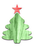 Holiday Christmas tree with red star mad from wood. On white background Royalty Free Stock Images