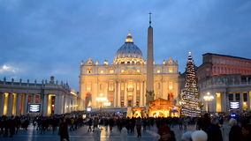 Holiday Christmas tree, Vatican square in Vatican, Italy., stock video