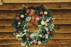 Holiday Christmas wreath. Public displaying of a a Holiday Christmas wreath for everyone to enjoy stock photo