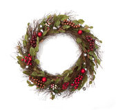 Holiday Christmas Wreath. On white background Royalty Free Stock Images