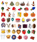Holiday clipart collection. With christmas, helloween, birthday isolated objects vector illustration