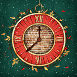 Holiday clock. Holiday greeting card Christmas or New year with fantasy red clock . Computer graphics Stock Image
