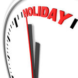 Holiday clock. Holiday text on a clock Stock Images