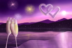 Holiday on the coast. Two glasses of champagne on the background of the lake and fireworks Stock Images