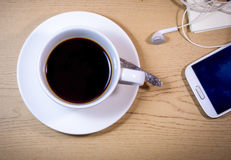 Holiday coffee. A cup of coffee before work or before departure on holiday royalty free stock photography