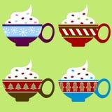 Holiday Coffee Mug Set. Cute coffee mugs for the holiday season Vector Illustration