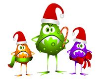 Holiday Cold and Flu Bugs. The gift that keeps on giving! This is a clip art illustration featuring a group of nasty looking cold and flu virus bugs dressed in Stock Image