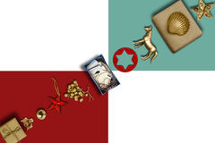 Holiday Collection, gift boxes diagonally row and decorative orn Royalty Free Stock Image