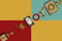 Holiday Collection, gift boxes diagonally row and decorative orn Royalty Free Stock Photos