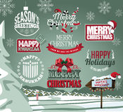Holiday collection of labels, emblems and type treatments. Including Christmas, Hanukkah and Kwanzaa and snowy background. EPS 10 vector illustration Stock Photos