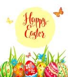 Holiday color eggs card Stock Photos