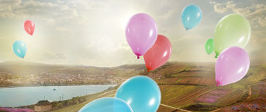 Holiday. Colorful Air Balloons in the Sky Royalty Free Stock Photos