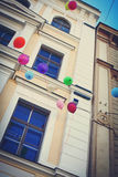 Holiday colorful balloons are flying to the sky Royalty Free Stock Photo