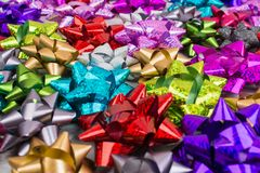 Holiday colorful different bow background. With selective focus Stock Photography