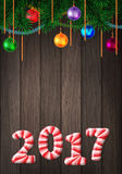 Holiday colorful greeting card with candy cane number of 2017 Royalty Free Stock Images