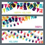 Holiday colorful horizontal banners with flags and. Garland stock illustration