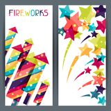 Holiday colorful vertical banners with shiny Stock Photography