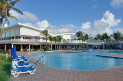Holiday complex in caribbean island of st lucia with swimming pool complex Stock Photos
