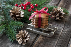 Holiday composition with christmas symbols Stock Photo