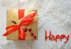 Golden Gift Box,  Holiday Composition in White, Red and Golden Stock Photography