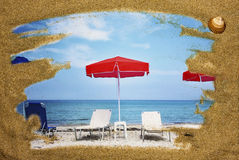 Holiday concept. Sea sand frame with seascape Stock Images
