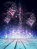 Holiday concept. Abstract sparkly stage with fireworks. Holiday concept Royalty Free Stock Photos