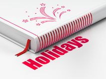 Holiday concept: book Fireworks, Holidays on white background. Holiday concept: closed book with Red Fireworks icon and text Holidays on floor, white background Stock Photos