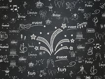 Holiday concept: Fireworks on School board background. Holiday concept: Chalk White Fireworks icon on School board background with  Hand Drawn Holiday Icons Royalty Free Stock Photos