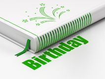 Holiday concept: book Fireworks, Birthday on white background. Holiday concept: closed book with Green Fireworks icon and text Birthday on floor, white Royalty Free Stock Photo