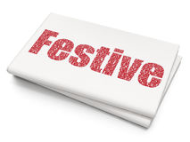 Holiday concept: Festive on Blank Newspaper background. Holiday concept: Pixelated red text Festive on Blank Newspaper background, 3D rendering Royalty Free Stock Photos