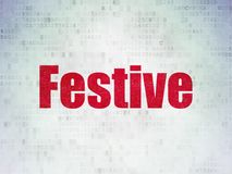 Holiday concept: Festive on Digital Data Paper background. Holiday concept: Painted red word Festive on Digital Data Paper background Stock Image