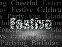 Holiday concept: Festive in grunge dark room. Holiday concept: Glowing text Festive in grunge dark room with Dirty Floor, black background with  Tag Cloud Royalty Free Stock Photography