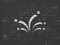 Holiday concept: Fireworks on wall background. Holiday concept: Painted white Fireworks icon on Black Brick wall background with Scheme Of Hand Drawn Holiday Royalty Free Stock Photography
