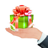 Holiday. Concept - Hand with Gift Box, vector isolated on white background Royalty Free Stock Photos