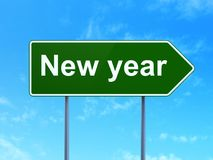 Holiday concept: New Year on road sign background. Holiday concept: New Year on green road highway sign, clear blue sky background, 3D rendering vector illustration